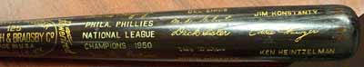 Autographed 1950 Phillies Black Bat