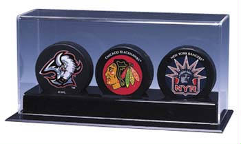 3 Hockey Puck Deluxe Display Case Cube