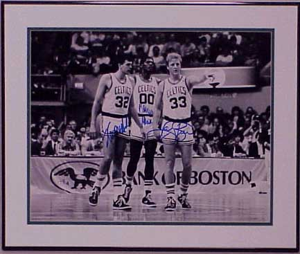 Autographed Larry Bird, Kevin McHale, & Robert Parish