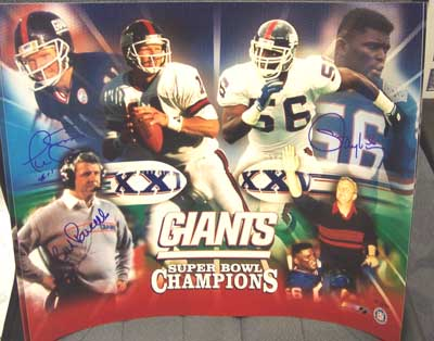 Autographed Bill Parcells, Phil Simms, and Lawrence Taylor
