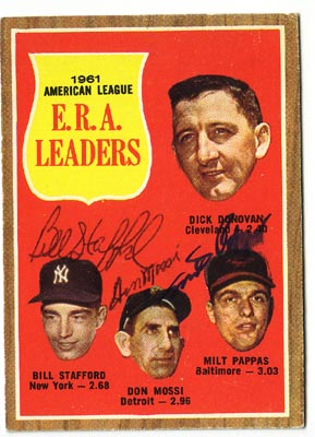 Autographed Bill Stafford & Don Mossi & Milt Pappas