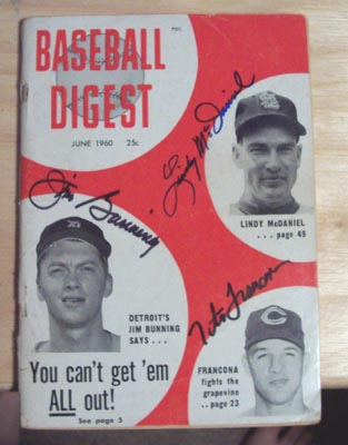 Autographed Jim Bunning, Lindy McDaniel, Tito Francona