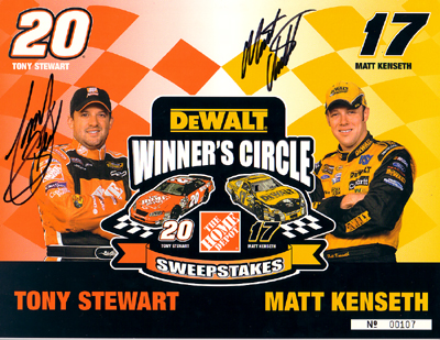 Auto Racing Sport Tony Stewart on Matt Kenseth   Tony Stewart Hand Signed 8x10 With Certificate Of