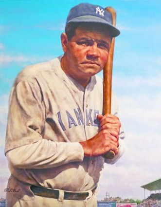 Autographed Babe Ruth FINE ART GICLEE