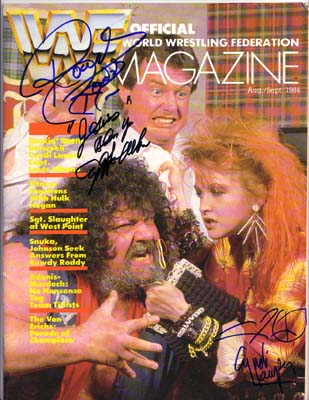 Autographed Rowdy Piper, Lauper Albano