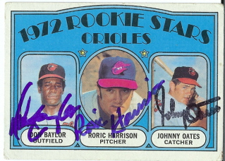 Autographed 1972 Orioles Rookies Topps Card