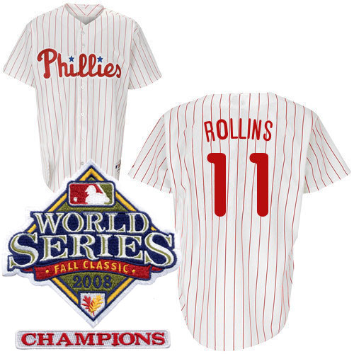 Jimmy Rollins Autographed Majestic Phillies Home Jersey With 2008 World  Series Patch b055bcd8047