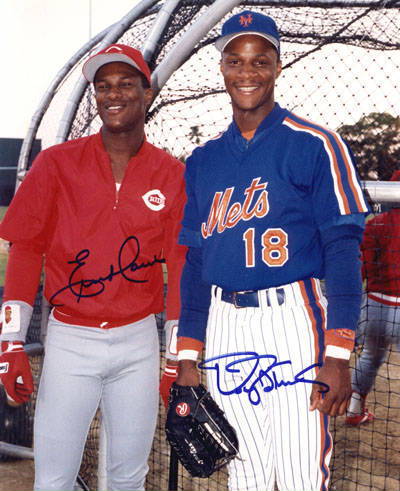 Autographed Eric Davis & Darryl Strawberry