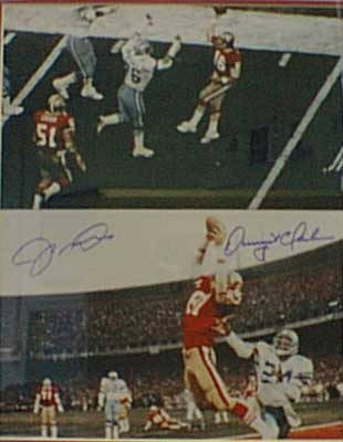 Autographed Joe Montana to Dwight Clark