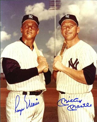 Autographed Roger Maris & Mickey Mantle