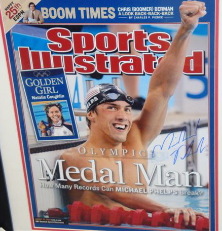 Autographed Michael Phelps Sports Illustrated Cover