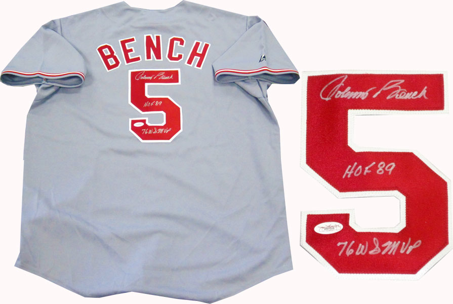 sale retailer 42037 040b3 Johnny Bench Autographed Jersey