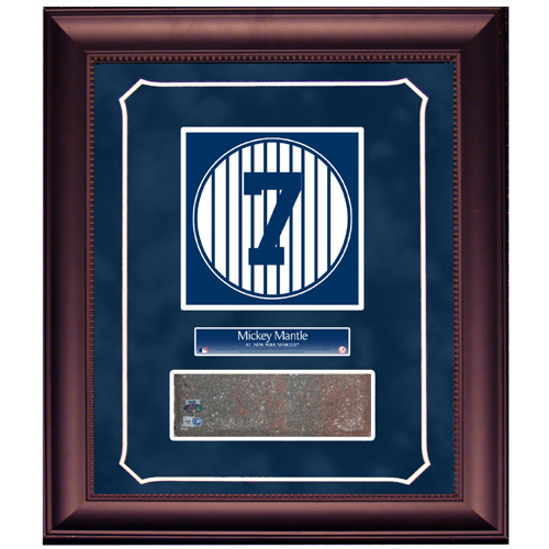 Autographed Mickey Mantle Retired Number Monument Park Brick Slice