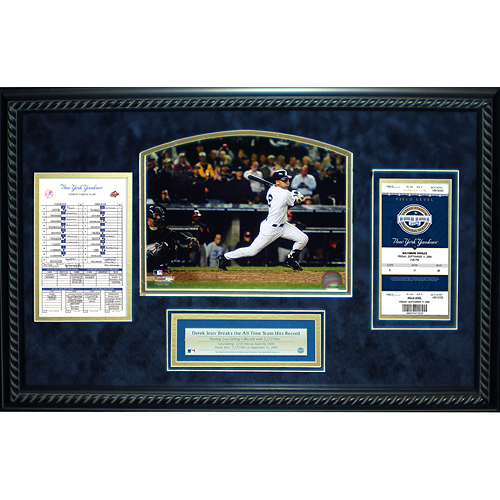 Autographed Derek Jeter Yankees Record Breaking Hits Scorecard & Ticket Collage