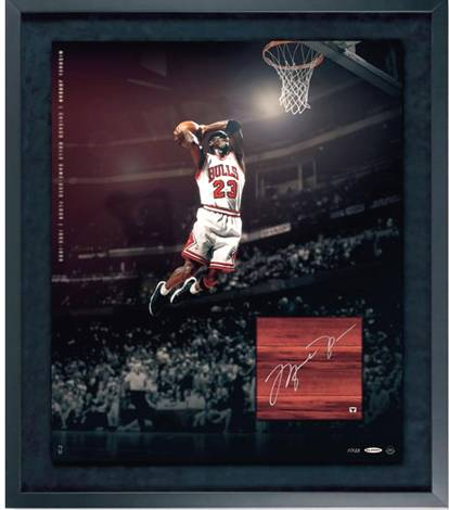 Autographed Michael Jordan Autographed Game Used Floor Collage