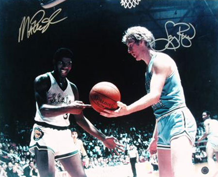 Autographed Larry Bird & Magic Johnson