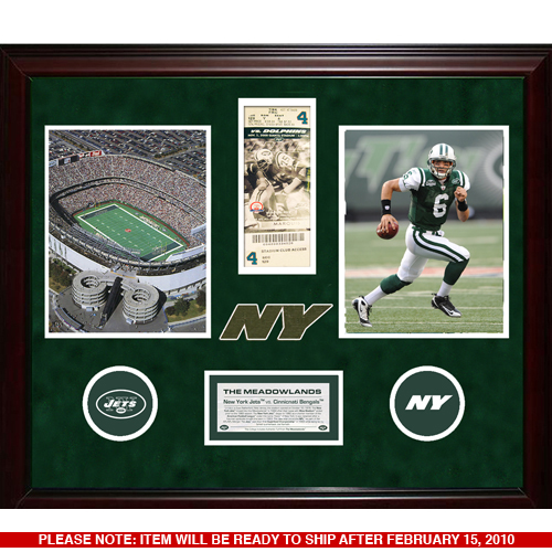 Autographed New York Jets Final Ticket  & Used Turf Collage