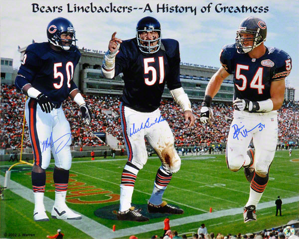 Autographed Mike Singletary, Brian Urlacher & Dick Butkus