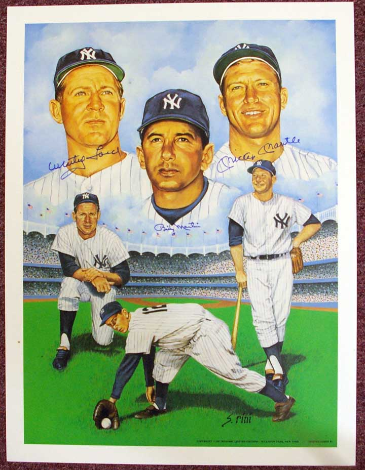Autographed Mickey Mantle, Billy Martin, & Whitey Ford