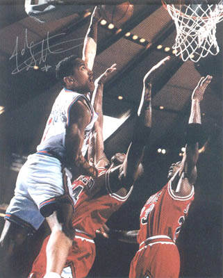 8x10 color photo autographed by john starks the dunk vs the bulls