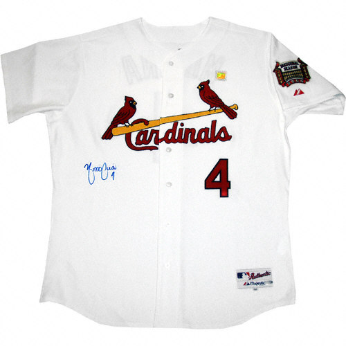 new product 5ce19 0044f Yadier Molina Autographed Jersey