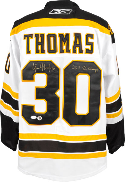 ae2a13c70 Tim Thomas Autographed Boston Bruins Jersey With 2011 SC champs Inscription