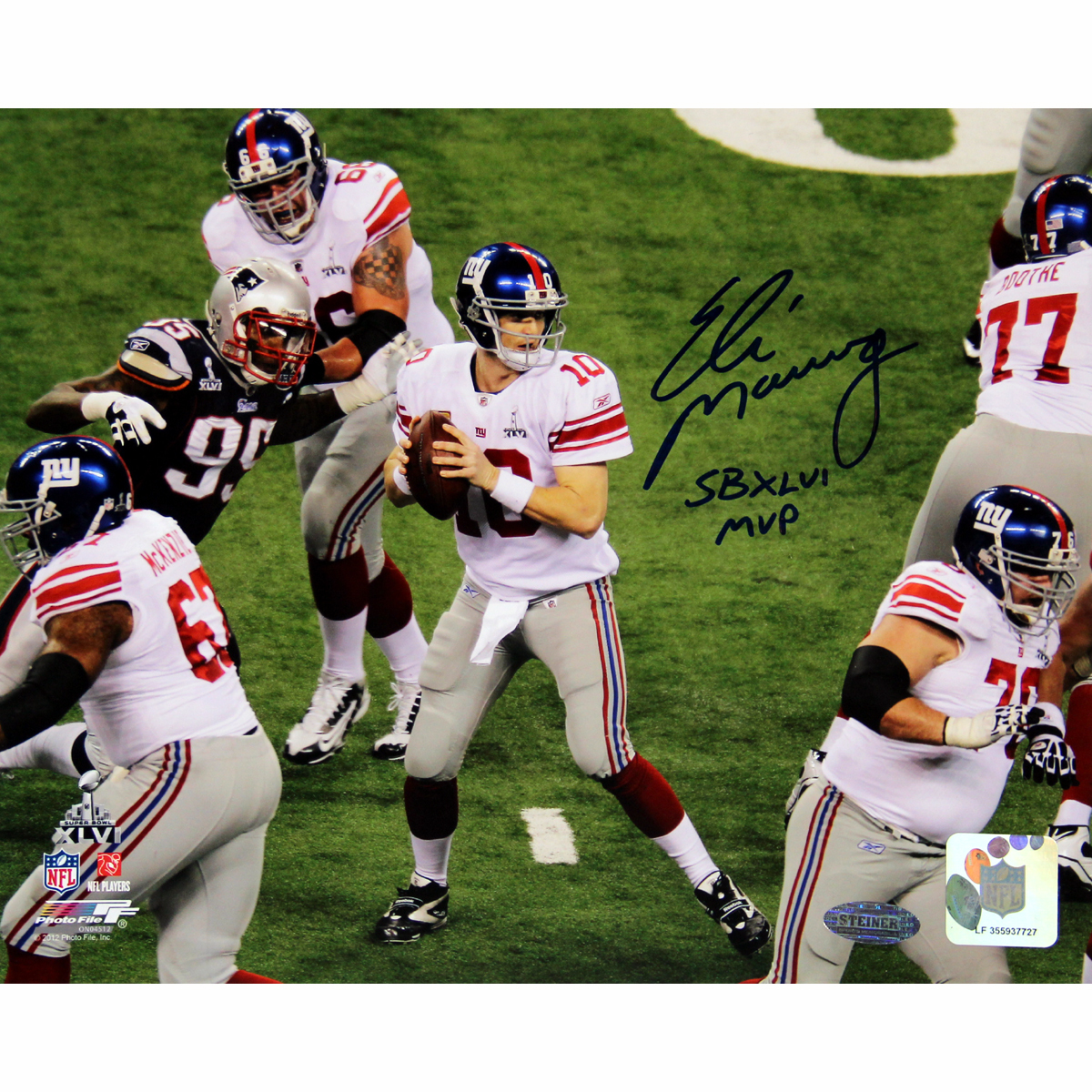 Eli Manning Super Bowl 46 With Inscription