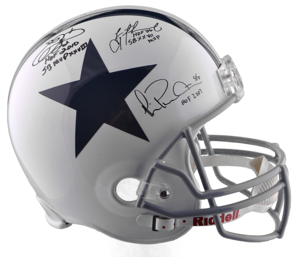 Autographed Troy Aikman Emmitt Smith & Michael Irvin