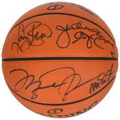 Autographed Larry Bird Magic Johnson Michael Jordan & Julius Erving