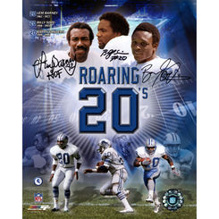 Autographed Barry Sanders Billy Sims & Lem Barney