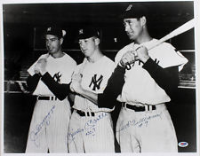 Autographed Mickey Mantle Ted Williams & Joe DiMaggio