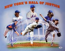 Autographed Noah Syndergaard Matt Harvey & Jacob deGrom