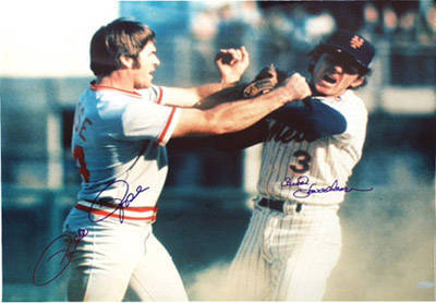 Autographed Bud Harrelson vs. Pete Rose