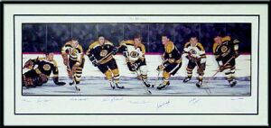 Boston Bruins Hall Of Famers Lithograph Autographed Lithograph